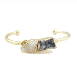 Druzy cuff bangle bracelet  -black & white